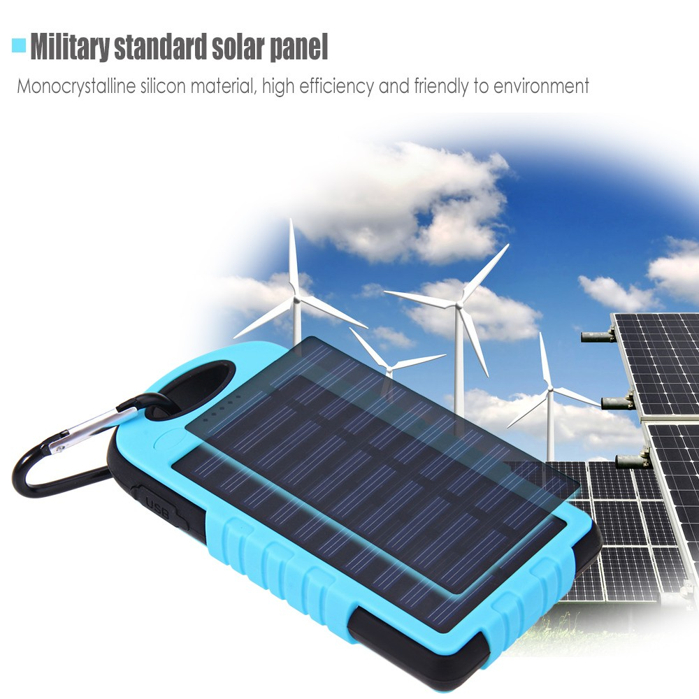8000mAh Solar Panel Power Bank Built-in LED Torch Dual USB Output Portable Charger