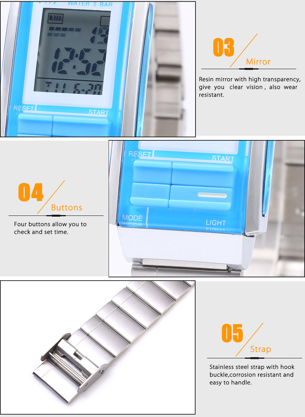 SKMEI 1173 LED Digital Watch Calendar Chronograph Alarm Display Sport Wristwatch