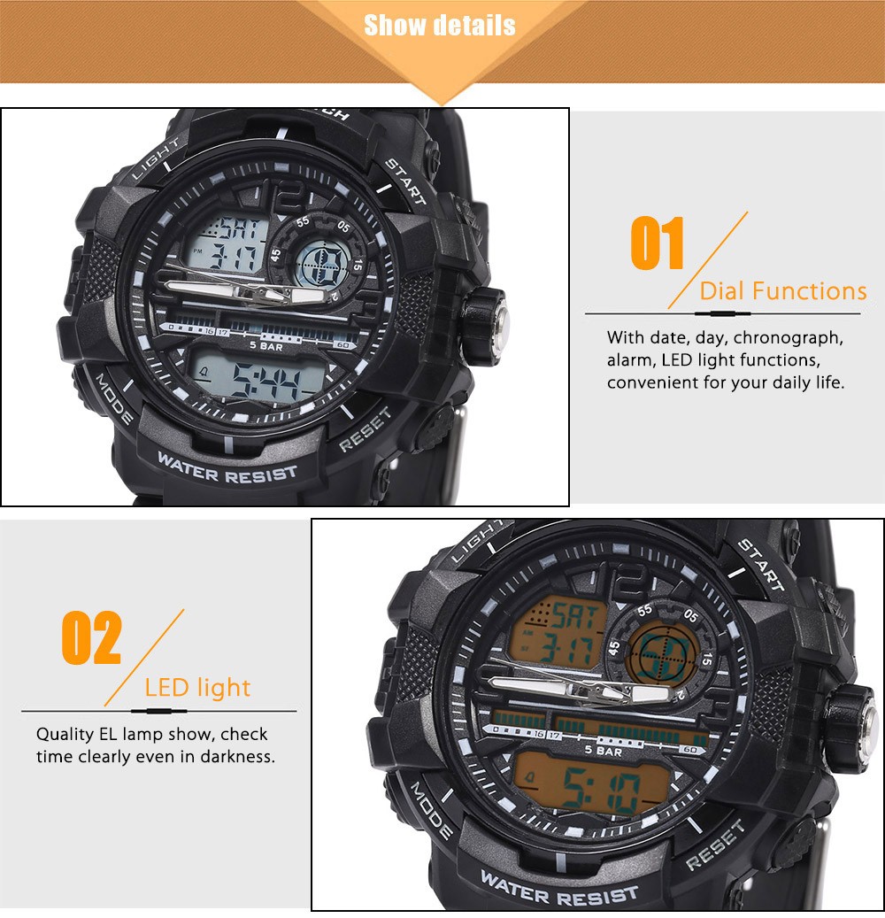 SKMEI 1164 Dual Movt Quartz Watch Calendar Chronograph Two Time Zones Display LED Digital Sport Wristwatch