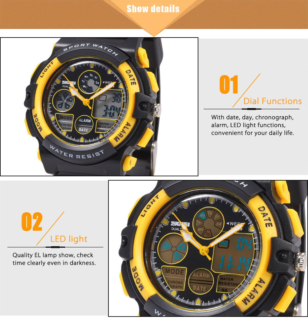 SKMEI 1163 Dual Movt Quartz Watch Calendar Chronograph Display LED Luminous Pointer Digital Sport Wristwatch