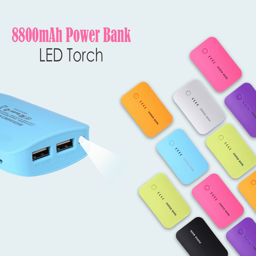Universal 8800mAh External Power Bank LED Light Torch