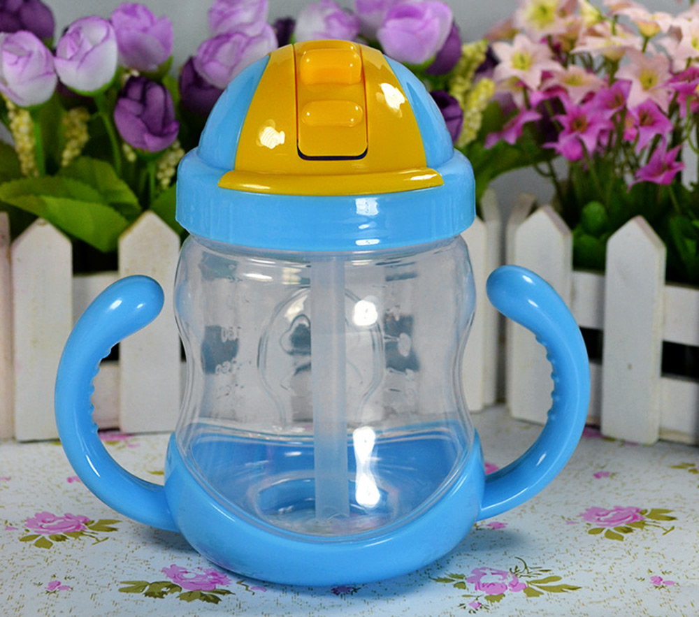 280ml Safety PP Material Children Straw Cup Drinking Bottle with Handles