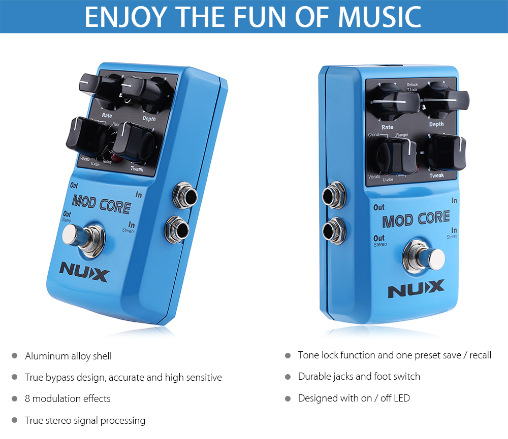 NUX Mod Core Guitar Effect Pedal True Bypass Design