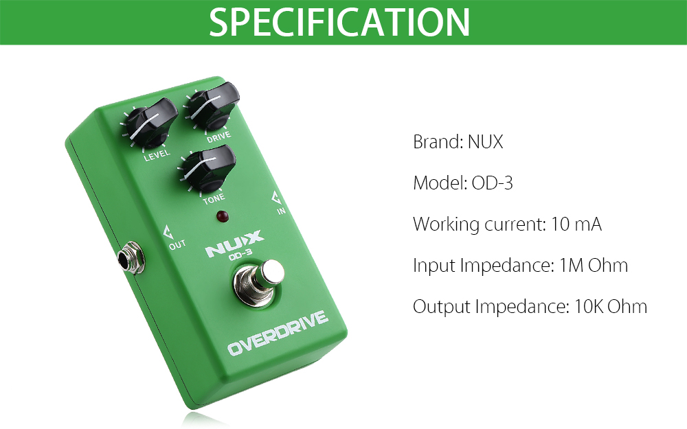 NUX OD - 3 Vintage Overdrive Booster Guitar Effect Pedal True Bypass Design