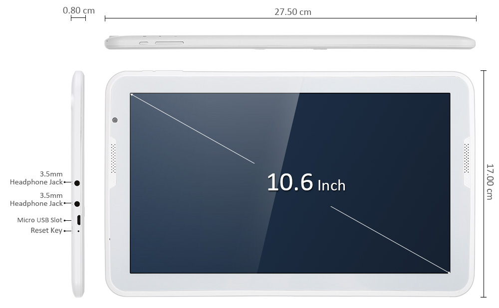 HIPO A106T 10.6 inch Android 5.1 Tablet PC Allwinner A83T Octa Core 1.8GHz 1GB RAM 16GB ROM Bluetooth 4.0 Dual Cameras OTG WiFi Functions