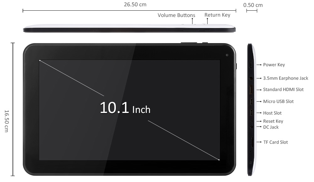 HIPO Q102A 10.1 inch Android 5.1 Tablet PC Allwinner A83T Octa Core 2.0GHz 1GB RAM 16GB ROM Bluetooth 4.0 HDMI OTG Dual Cameras WiFi Functions