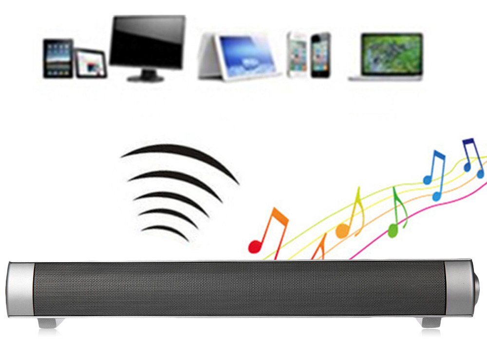 LP - 08 Portable Slim Magnetic Wireless Sound Bar Stereo Bluetooth Subwoofer Speaker Support Hands-free AUX Input TF Card Playing