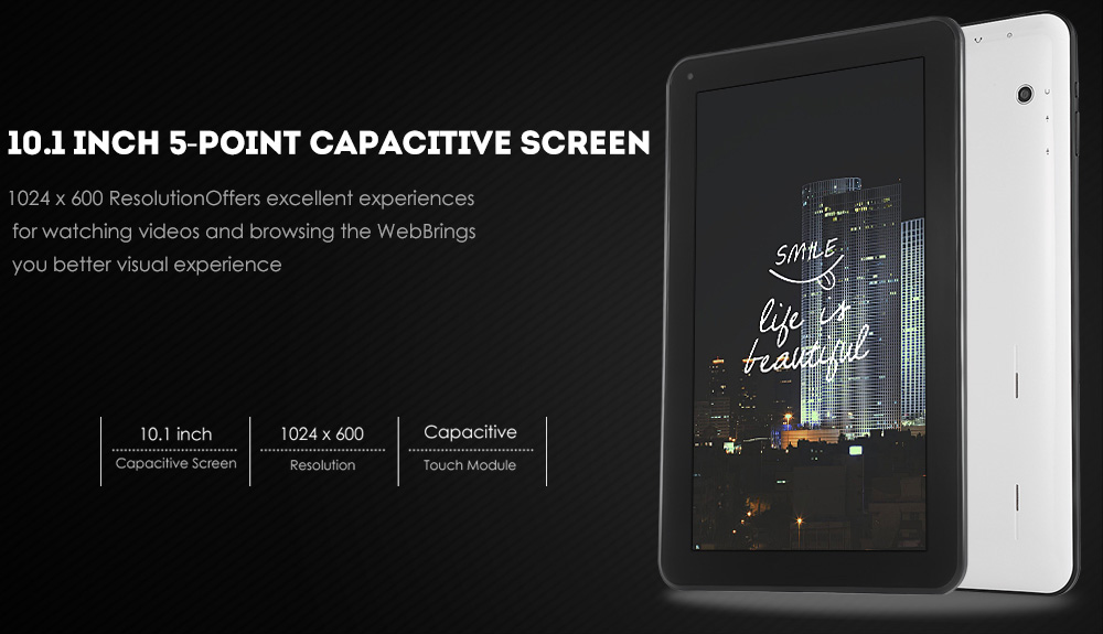 HIPO Q64 10.1 inch Android 5.1 Tablet PC Allwinner A64 Quad Core 1.3GHz 1GB RAM 16GB ROM Bluetooth 4.0 OTG WiFi Functions ( Built-in 16GB TF Card )