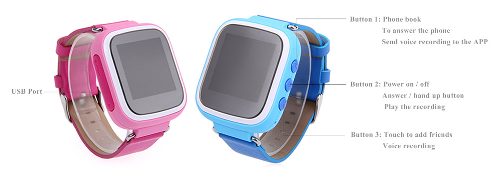 Q523 Children GPS Smartwatch 1.44 Inch Screen MTK6261 SOS GPRS Real-time Position