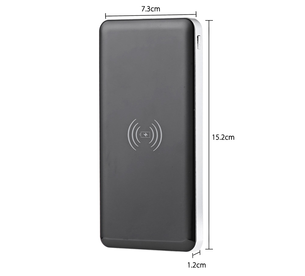 Ultra Slim Qi Wireless Charger 10000mAh Power Bank PU Cover Dual USB Port