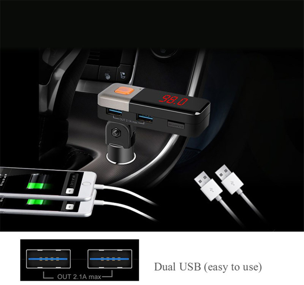 BC11 Wireless Bluetooth Car Charger Dual USB Aux Audio MP3 Player FM Transmitter Current Voltage Display