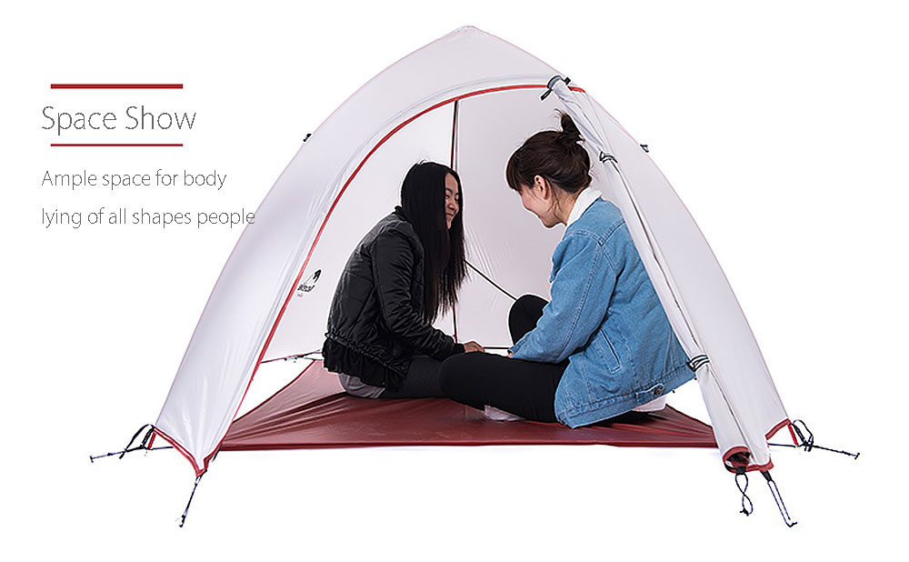 2 Person Outdoor Camping Tent Kit Lightweight Double Layer Soft Silicone Anti-pest with Carry Bag for Travel Hunting Hiking
