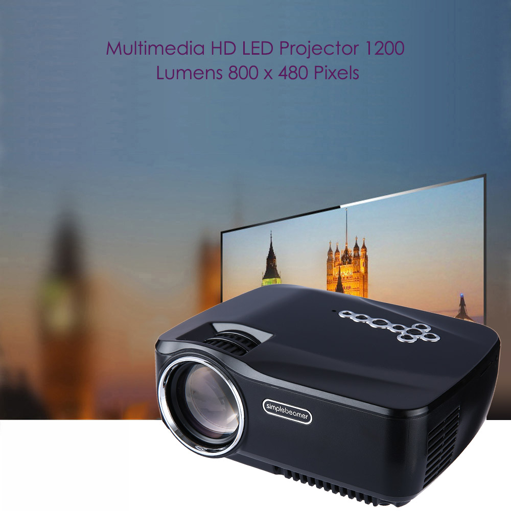 GP - 70UP Android 4.4 Portable 1200 Lumens Full HD LCD Projector Video Home Cinema Built-in Bluetooth DLNA Miracast Airplay EZCast Multi-language
