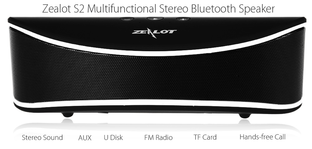 ZEALOT S2 Bluetooth 4.0 Speaker TF Card AUX Input FM Radio Multifunctional Wireless Music Player