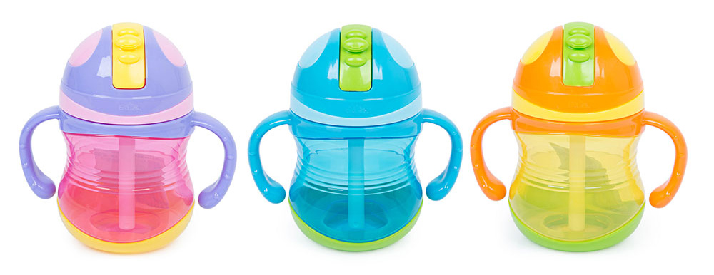 Rikang 300ml Colorful Babies Drinking Straw Bottle Sippy Cup with Handles