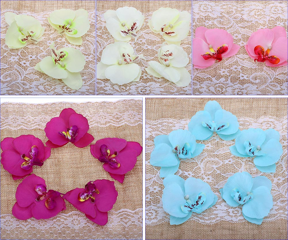 50pcs Artificial Butterfly Orchid Silk Flowers Heads Party Decoration