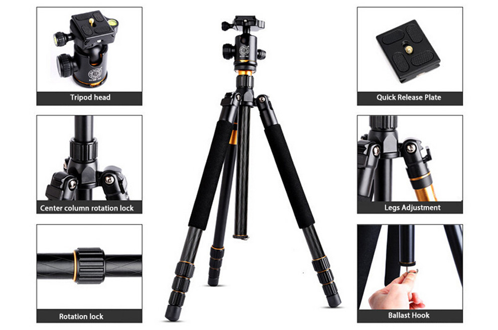 QZSD Q999 62.2 Inches Lightweight Tripod Monopod with 1/4 Screw