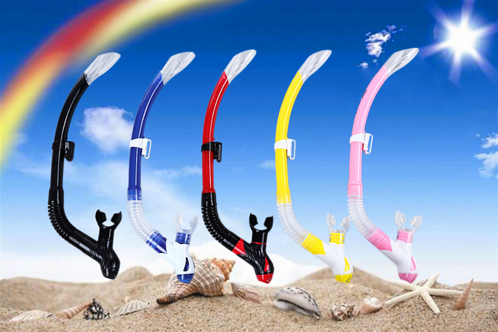 WHALE Swimming Diving Gel Silicone Mouthpiece Full Dry Snorkel Breathing Tube