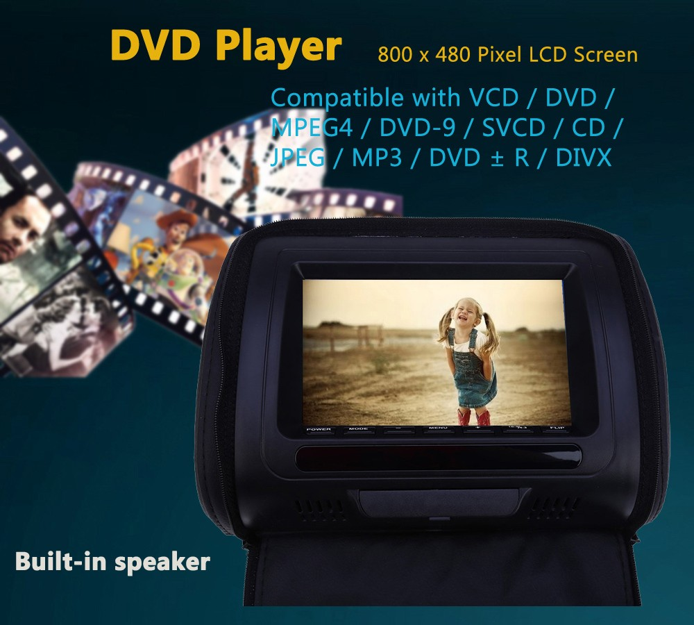 Paired XD783 7 Inch Car Headrest DVD Player 800 x 480 LCD Backseat Monitor