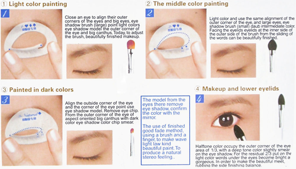 6pcs Makeup Described Eye Shadow Models Beauty Tools Aids Cards for Beginner