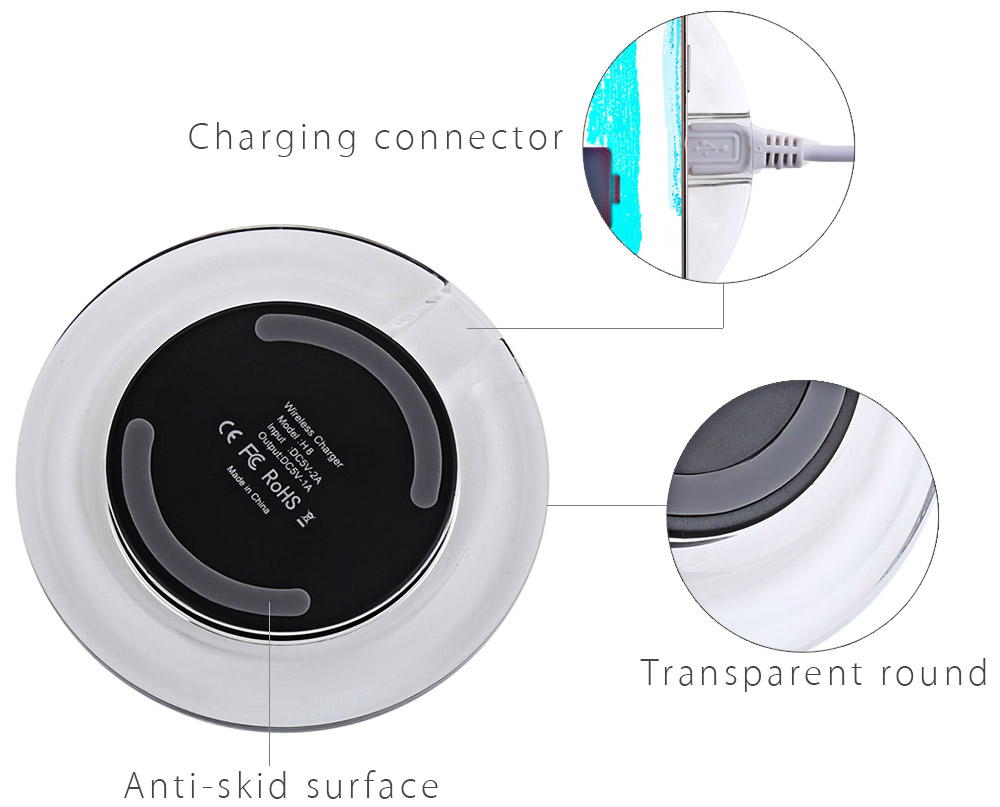 Crystal Round Shape Qi Wireless Charging Station