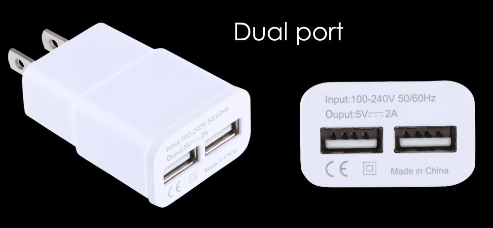 5V 2A Double USB Ports Multifunctional Travel Charger Adapter
