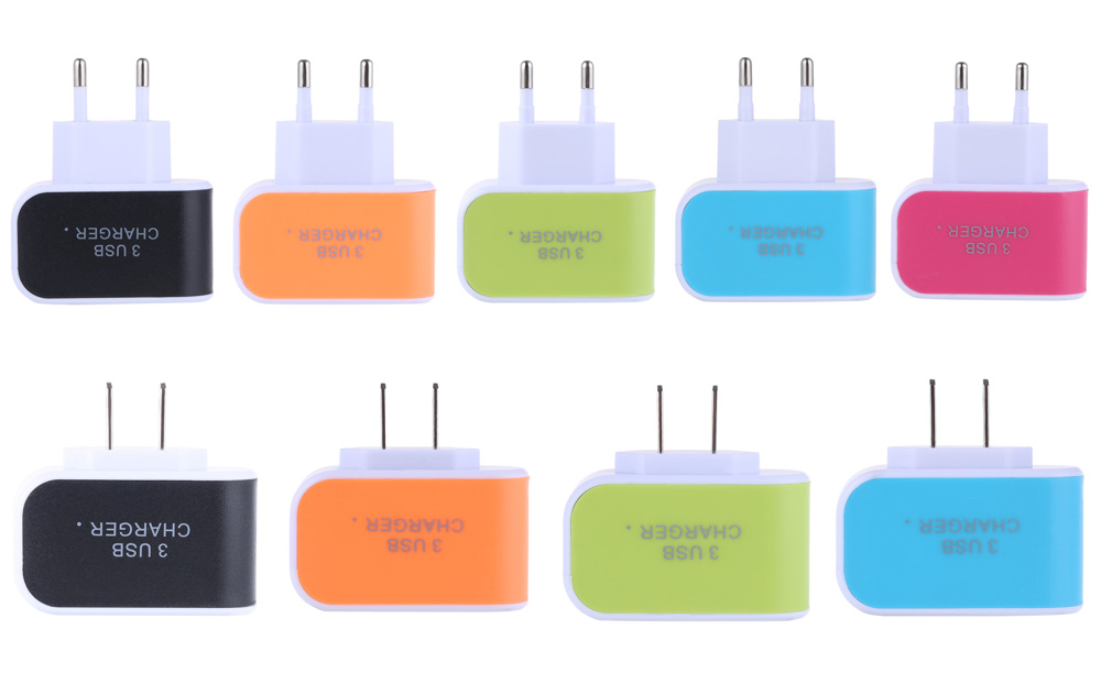 3 USB Ports Coloured Multifunctional 5V 3A Universal Travel Charger Adapter