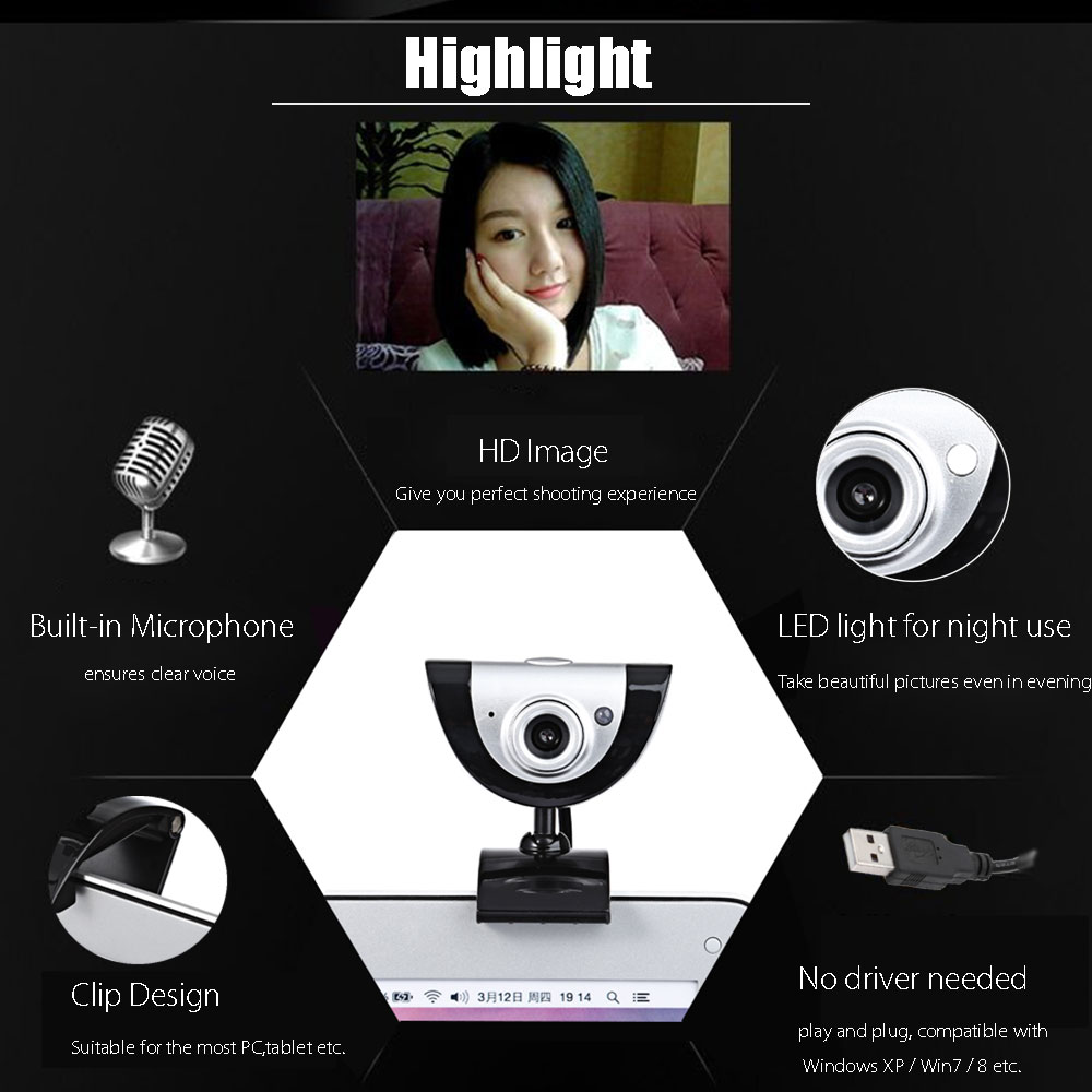 A880 Desktop USB 1.3M Website Camera with Built-in Microphone
