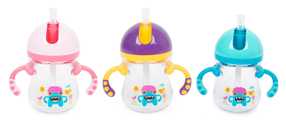 Rikang 400ml Cartoon Print Babies Drinking Straw Bottle Sippy Cup with Handles