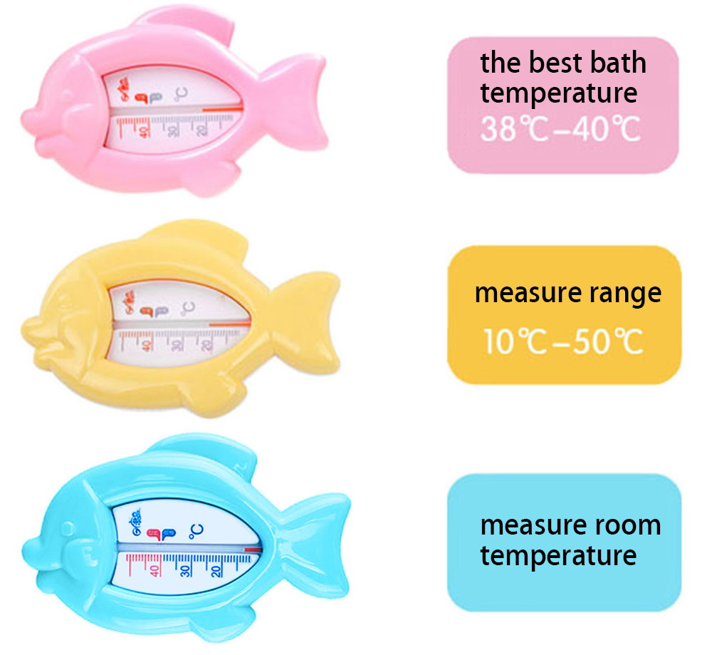 Rikang Cute Fish Shape Baby Bathe Water Thermometer Room Count Meter