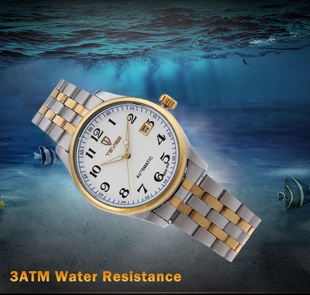 Tevise 8500 - 002 Men Automatic Mechanical Watch Date Luminous Pointer 3ATM Water Resistance Wristwatch