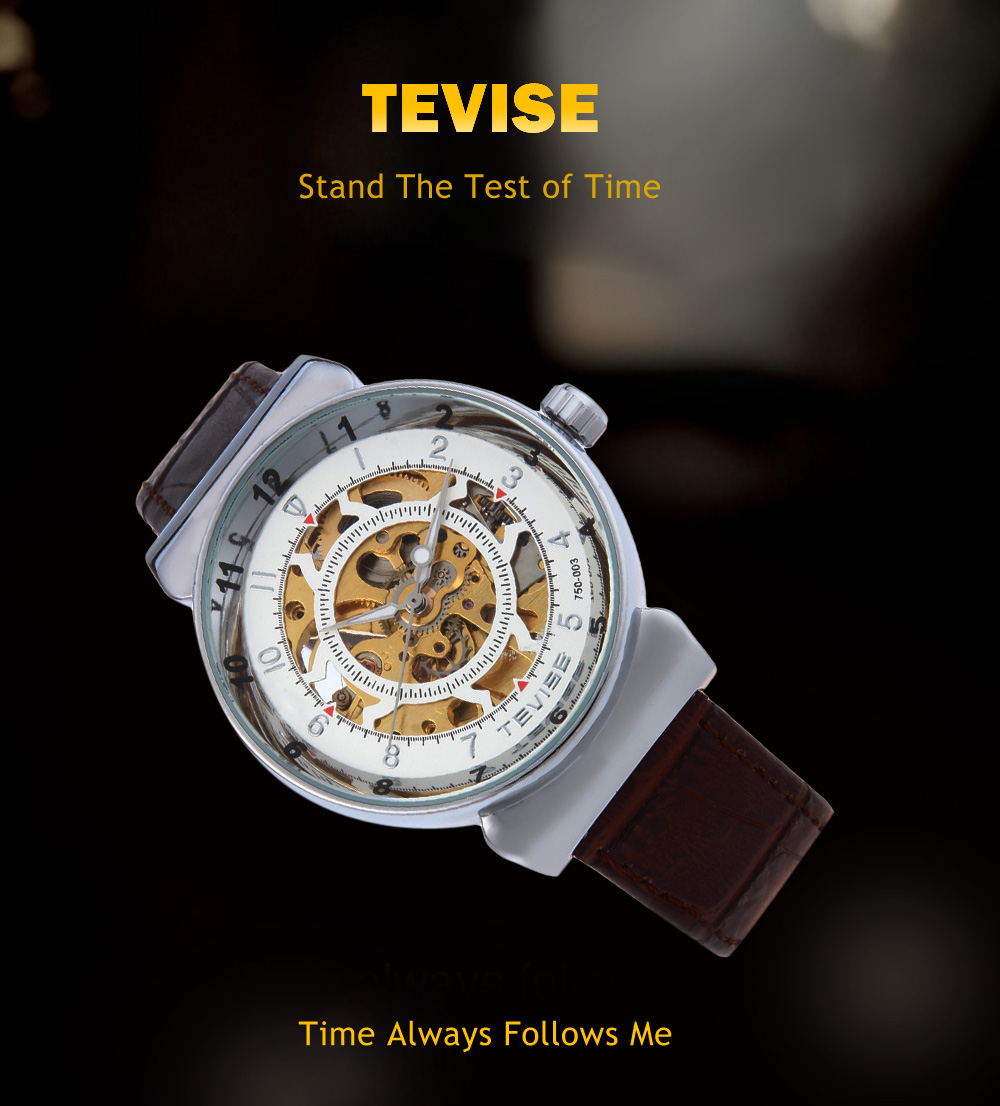 Tevise 750 - 003 Men Automatic Mechanical Watch Genuine Leather Strap Luminous Water Resistance Wristwatch