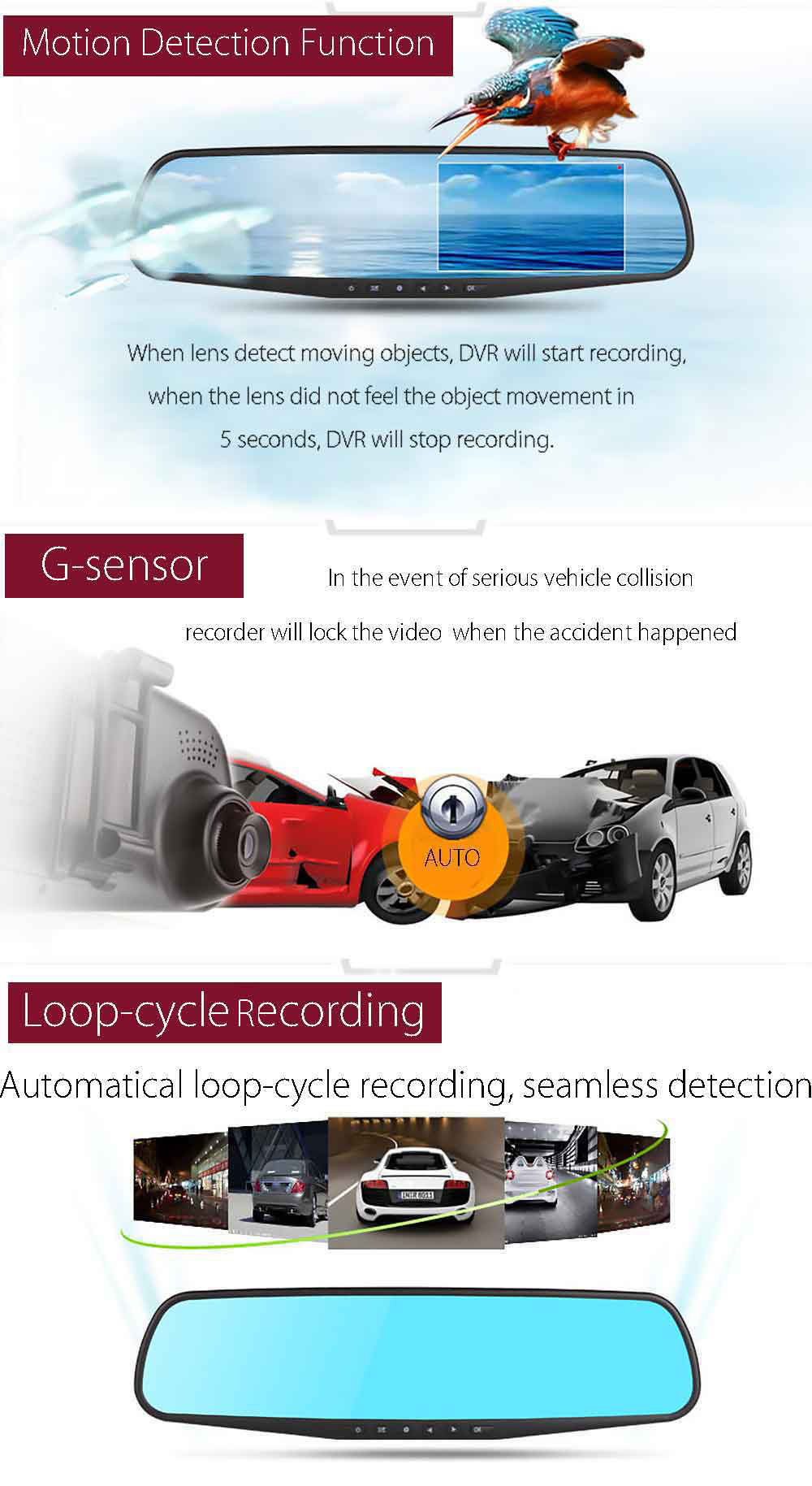 RH - A20 4.3 Inch Dual Lens Car DVR Recorder Full HD 1080P Loop Cycle Recording Night Vision Camera