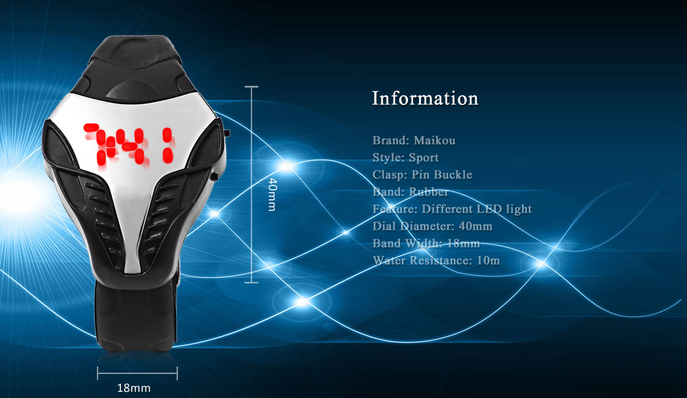 MAIKOU M005 Men LED Digital Sports Watch Elapid Shape Dial Date Display Wristwatch