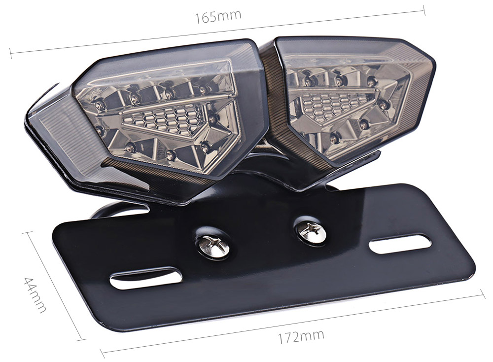 20 LEDs 12V Motorcycle Integrated Taillight Brake Light Turn Signal Number Plate Lamp