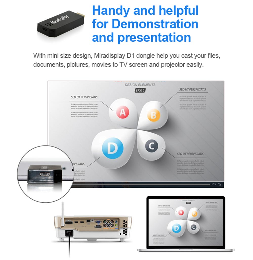 Miradisplay TV Dongle Wireless 2.4GHz WiFi HDMI DLNA Miracast Display Airplay Receiver Support iOS 9 System