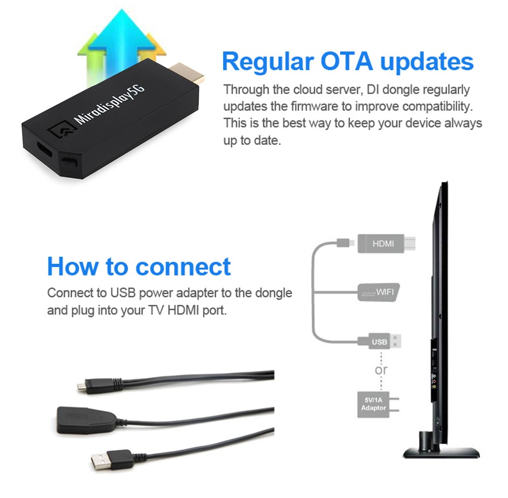Miradisplay TV Dongle Wireless 2.4GHz / 5GHz WiFi HDMI DLNA Miracast Display Airplay Receiver Support iOS 9 System