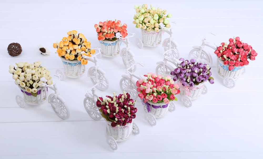 Rattan Vase Artificial Cloth Flower Set Home Decoration Mini Tricycle Bonsai