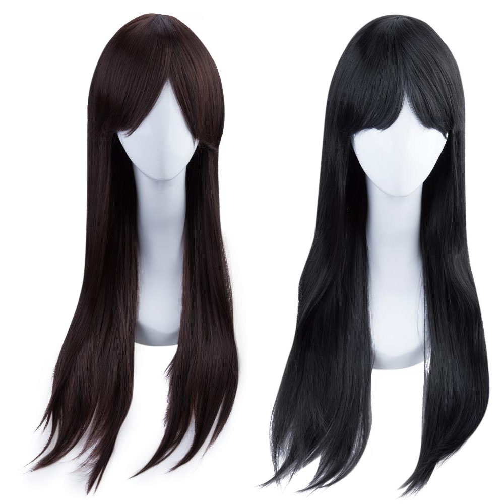 Women Natural Long Straight Hair Wigs with Bangs Modified Face