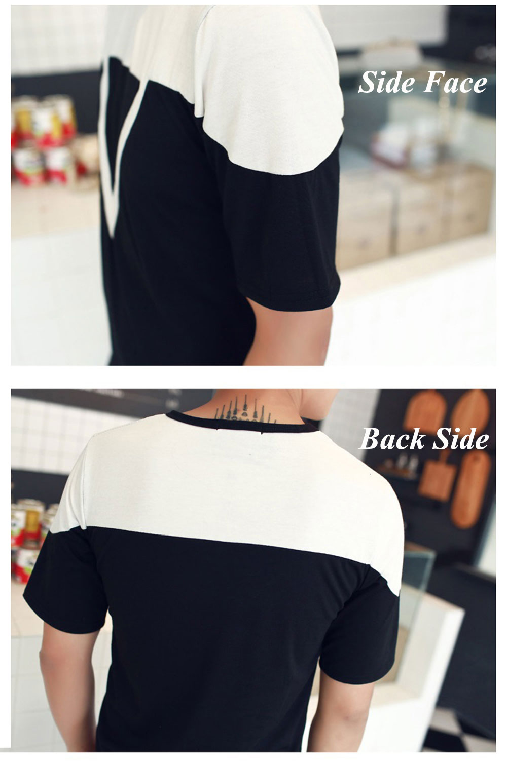 Casual Color Block  Inverted Triangle Round Neck Short Sleeve Men Shirt