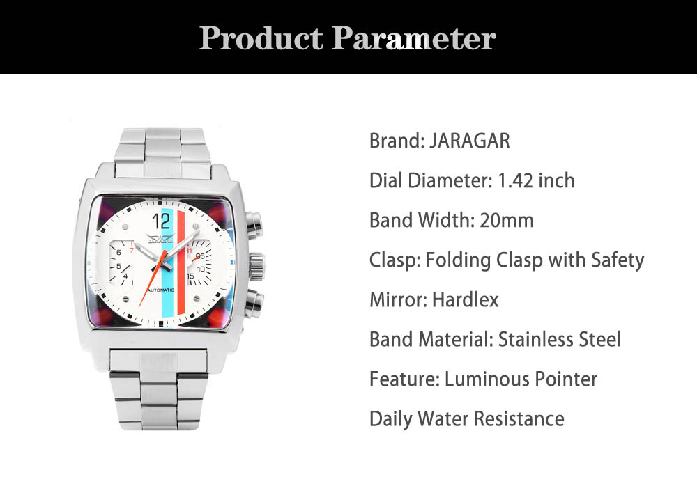 JARAGAR F120549 Male Automatic Mechanical Watch Date Day Rectangle Dial Luminous Pointer Wristwatch