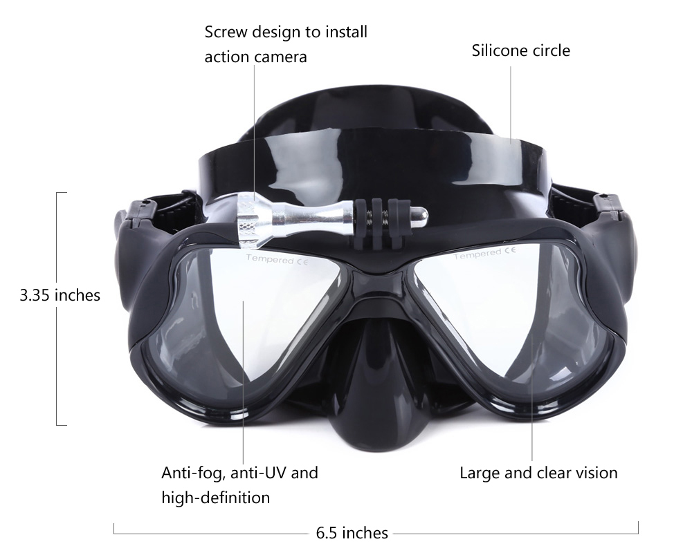 Wide View Swimming Mask Diving Eyewear Silicone Goggles