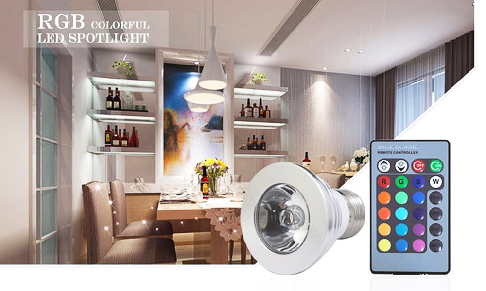3W 16 Color RGB LED Spotlight Colorful Lamp Lighting with 24 Key IR Remote Control