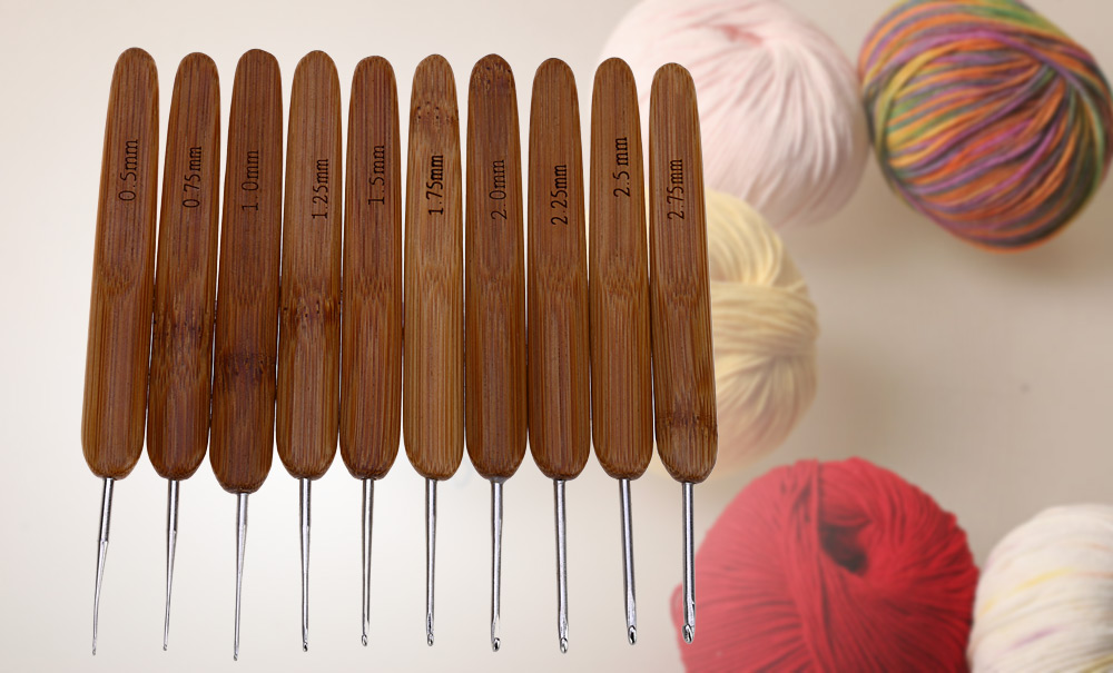 10 Sizes Metal Crochet Hook Carbonized Bamboo Handle Knitting Needles Weave Crafts