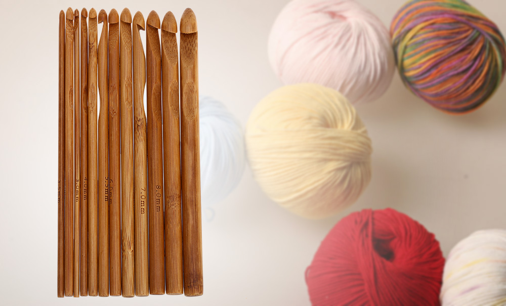 12 Different Sizes Carbonized Bamboo Knitting Needles Crochet Hook Weave Crafts