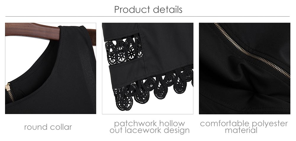 Brief Round Collar Lacework Hollow Out Loose Women Mini Dress