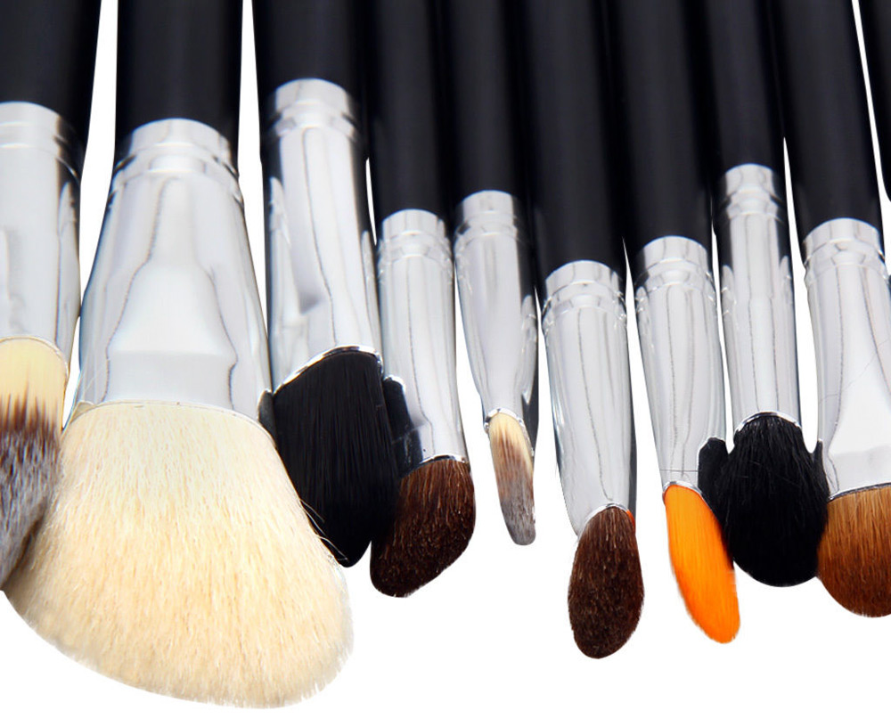 29pcs Women Professional Soft Cosmetic Tool Makeup Brush Set with Black Leather Case