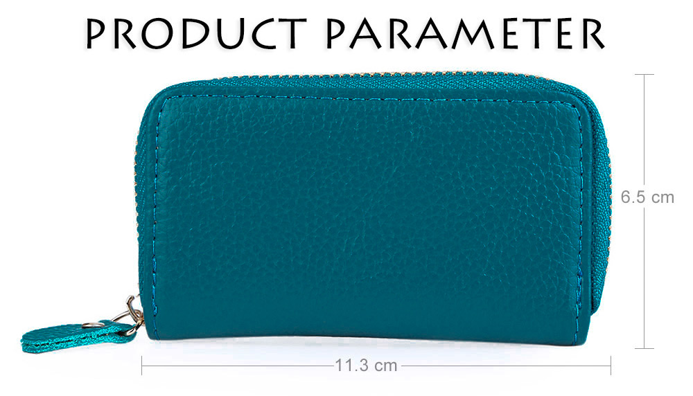 Square Solid Color Detachable Key Chain Wallet for Unisex