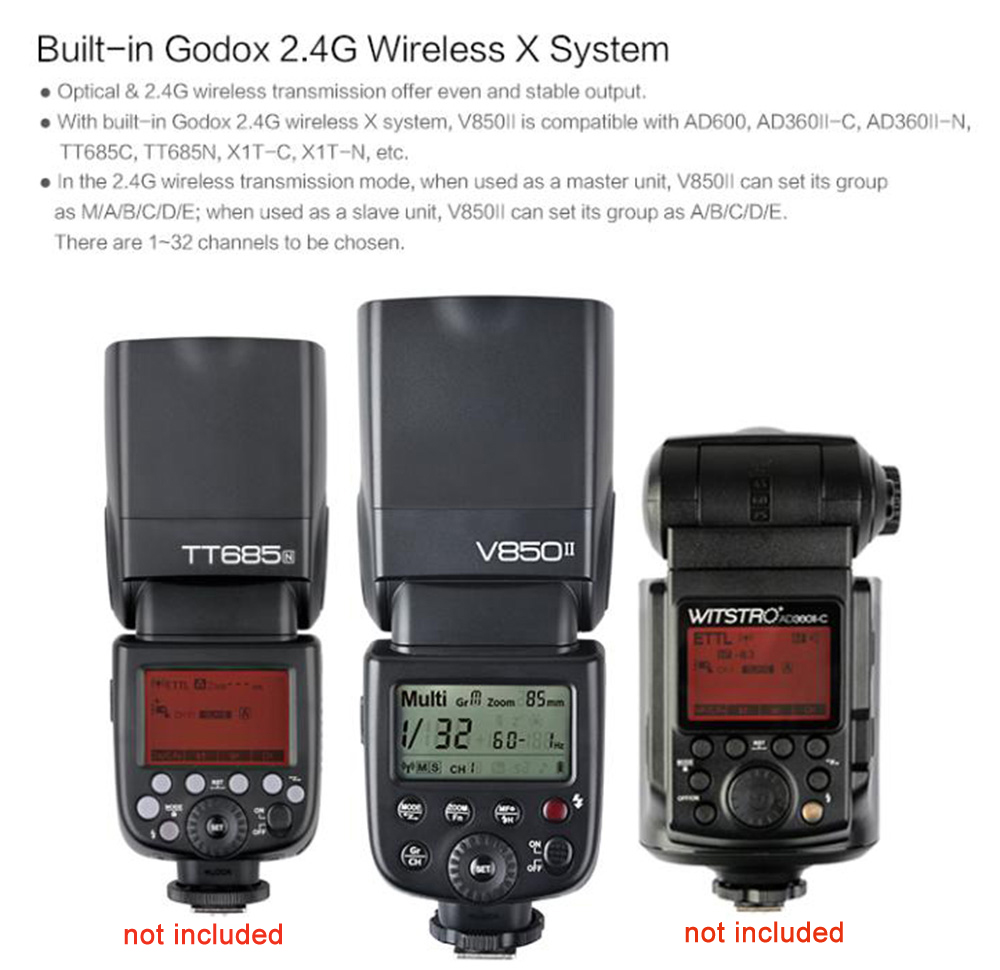 Godox Ving V850II Camera Flash Speedlite with 2000mAh Li-ion Battery for Canon Nikon Pentax Olympus