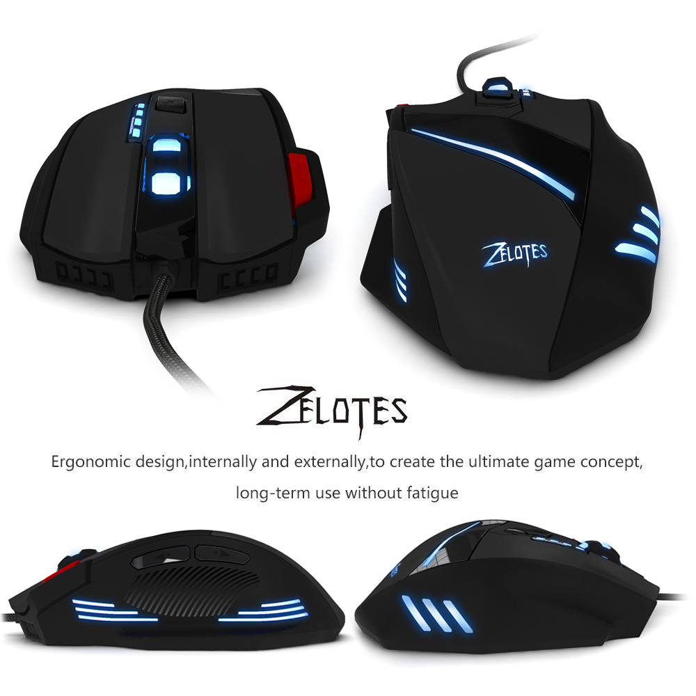 ZELOTES T - 60 Optical 7200DPI 7D USB Pro Gaming Wired Mouse with LED Backlight